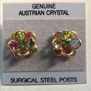Vintage Genuine Austrian Crystal Flower Earrings